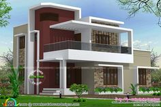 2200 square foot 4 BHK home Kerala House Design, Floating House, House Elevation, Architecture Plan, Modern Houses, Villas, Exterior Design, Building A House, Entrance