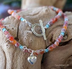 Red Indian Agate and Aqua Crystal Necklace