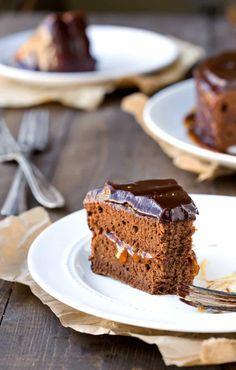 This Sacher Torte is a recipe for the classic Austrian cake. The cake has chocolate sponge cake, apricot jam filling, & a chocolate ganache glaze!