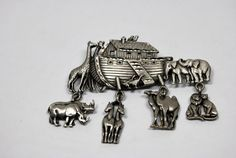 Noah's Art Brooch Pin Signed JJ Vintage 1980s by CrazyAuntDesigns