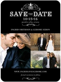 Haute Heraldry - Signature White Photo Save the Date Cards - East Six Design - Black : Front