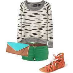 A fashion look from April 2012 featuring long sleeve sweater, hot shorts and flat shoes. Browse and shop related looks. Hot Shorts, Green Shorts, Fashion Looks, Women's Fashion, Long Sleeve Sweater, Me Too Shoes, Fashion Ideas, Cool Outfits, Runway