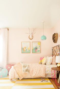 Sherwin Williams Angelic wall color Shared Girls Room Design Refresh by Lay Baby Lay 11 Girls Bedroom Colors, Girls Room Design, Kids Bedroom, Bedroom Ideas, Girl Bedrooms, Bedroom Designs, Kids Rooms, Trendy Bedroom, Small Rooms