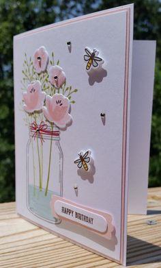 Trendy stampin up birthday card flowers Ideas Handmade Birthday Cards, Greeting Cards Handmade, Vintage Handmade Cards, Birthday Gifts, Handmade Thank You Cards, Art Birthday, Stampin Up, Tarjetas Diy, Mason Jar Cards