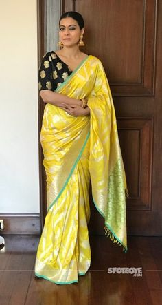 Buy Yellow Colored Silk Fabric Designer Wear Beautiful Saree With Black Heavy Designer Blouse - Trendy Sarees, Stylish Sarees, Banarasi Sarees, Silk Sarees, Saris, Drape Sarees, Indian Beauty Saree, Indian Sarees, Kajol Saree