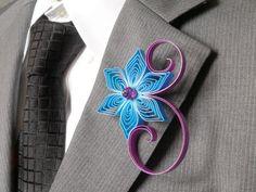 Mermaid Blue and Raspberry Boutonniere Purple Wedding Groom