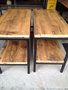 Side tables with reclaimed barn board tops and shelves. Barn Siding, Wood Steel, Upcycled Furniture, Side Tables, Repurposed, Shelves, Board, Diy, Beautiful