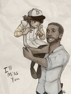 Clementine and Lee of The Walking Dead video game.