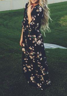 Multicolor Floral Pattern Collarless Long Sleeve Bohemian Chiffon Maxi Dress