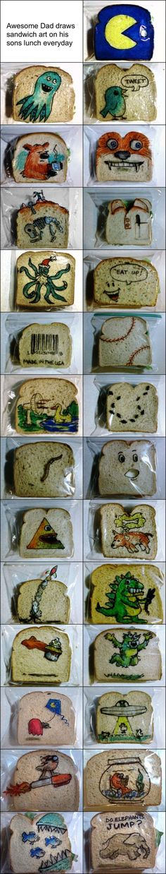 Can't quite get the hang of cutting your kid's sandwich into an animal? Get your draw on with this creative sandwich bag art!