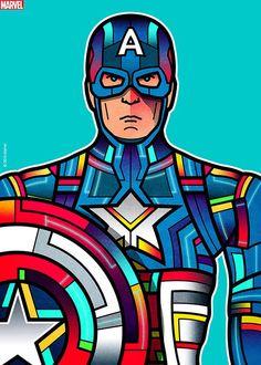 """Avengers Portraits: Captain America"" by Van Orton Design - Hero Complex Gallery Marvel Dc Comics, Marvel Avengers, Marvel Heroes, Captain America, Comic Kunst, Comic Art, Posters Geek, Comic Character, Character Design"