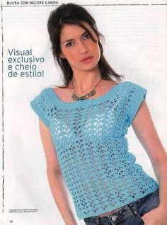 Photo from album on Yandex. Filet Crochet, Crochet Tops, Color Azul, Crochet Clothes, Jewerly, Pullover, Knitting, Pattern, Yandex Disk