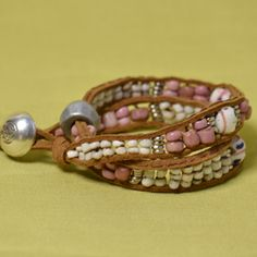 Wrap bracelet sewn through flat suede with totally unique trade and ethnic beads.