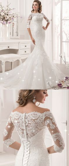 Fabulous Tulle & Satin Bateau Neckline Mermaid Wedding Dresses With Lace Appliques
