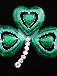"ST PATRICKS PATTY'S DAY IRISH LEPRECHAUN SHAMROCK CLOVER FLOWER PIN BROOCH 2.5""  #Unbranded"