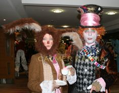 Mad Hatter Lookalike MC and Mad March Hare greet guests at this very special Alice in Wonderland themed event.