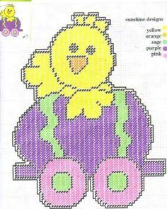 Easter Train Plastic Canvas Ornaments, Plastic Canvas Crafts, Plastic Canvas Patterns, Bunny Crafts, Easter Crafts, Happy Easter Bunny, Easter Projects, Easter Crochet, Needlepoint Patterns