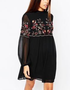 Shop Warehouse Embroidered Smock Dress at ASOS. Order now with multiple payment and delivery options, including free and unlimited next day delivery (Ts&Cs apply). Stylish Dresses For Girls, Frocks For Girls, Stylish Dress Designs, Stylish Outfits, Frock Fashion, Fashion Moda, Fashion Dresses, Tunic Designs, Kurta Designs Women