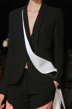 Minimal and Classic Style // black blazer with white detailing,  RTW Prabal Gurung at New York Spring 2015