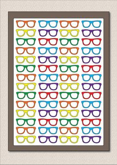 "Geek Nerd Glasses Large Poster - ""Four Eyes"" - Size A3 Wall Art - Geek Chic Hipster Eyeglasses"