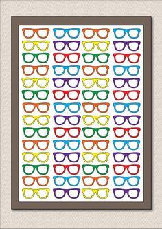 "Geek Nerd Glasses Large Poster - ""Four Eyes"" - Size A3 Wall Art - Geek Chic Hipster Eyeglasses"