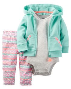 Carter's Baby French Terry Girls' Zip-Up Hoodie, Bodysuit & Aztec-Print Leggings Set Baby Outfits, Outfits Niños, Newborn Outfits, Kids Outfits, Beste Outfits, Legging Outfits, Carters Baby Clothes, Trendy Baby Clothes, Baby Kids Clothes