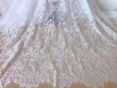 Lace Tops White  Black Striped Lace Fabric Soft French Chantilly Lace for Wedding robes Bridal Bodice