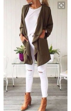 Olive green and white
