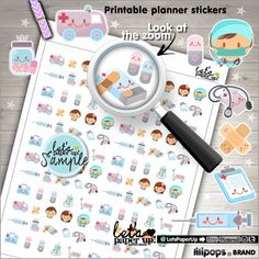 ★New listing! Medicine printable stickers - Planner stickers - Kawaii stickers