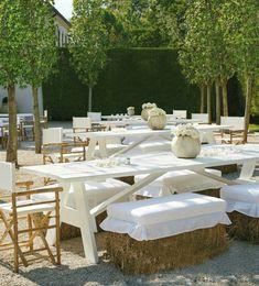 hay bale seating via Reviving Charm 1