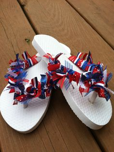 4th of July Ribbon FlipFlops red white and blue by fabflipflopshop, $15.00.  order yours today...I cant wait to make a pair just for you!!