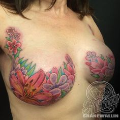 "Some breast cancer survivors are refusing to let cancer leave the ""last mark"" on their bodies. For women who have lost their breasts when a mastectomy was the only treatment option, inspirational mastectomy tattoos have turned tragedy into breathtaki Tattoos To Cover Scars, Scar Tattoo, Cover Tattoo, Breast Cancer Quotes, Breast Cancer Tattoos, Cancer Survivor Tattoo, Breast Cancer Survivor, Leg Tattoos, Body Art Tattoos"
