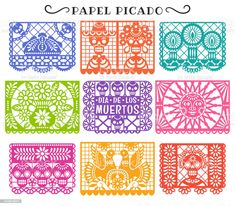 Mexican Party Decorations, Paper Cutting Templates, Fiesta Theme Party, Poster Layout, Free Vector Art, Vector Graphics, Day Of The Dead, Animal Design, Basic Colors