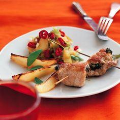 Ruller af skinkeschnitzel - med stærk æblekompot og chili