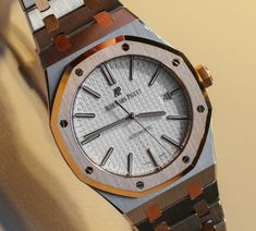 "Audemars Piguet Royal Oak 15400SR Two-Tone Watch Hands-On - on aBlogtoWatch.com ""The release of Audemars Piguet's Royal Oak in a two-tone configuration is as forward looking as it is retro. While the big story at SIHH 2015 out of the AP camp is the acoustically exceptional RD1, it was a subtle makeover of the already impressive Royal Oak Reference 15400 that really snagged my attention..."" #SIHHABTW"