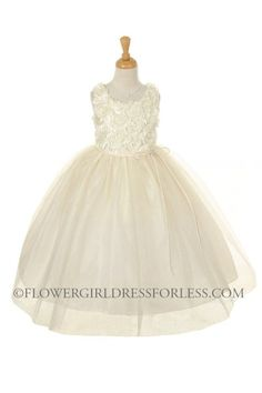 CC_ME525IV - Girls Dress Style ME525 - Sleeveless Tulle Dress with Rolled Floral Bodice - Ivory - Flower Girl Dress For Less