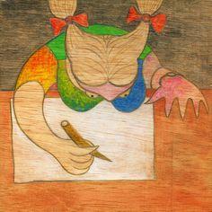 Mujer escribiendo ....................... by RAMIRO QUESADA :     Claudia Piquet   mujer escribiendo en la sala de profesores de la Universidad de La Plata . Argentina    INSPIRADO EN LA OBRA DE PABLO PICASSO DEL MISMO NOMBRE DE 1932    autor: RAMIRO QUESADA  técnica: mixta   dimensiones: 15,00 cm por 15,00 cm  post: sole  | quesada_100