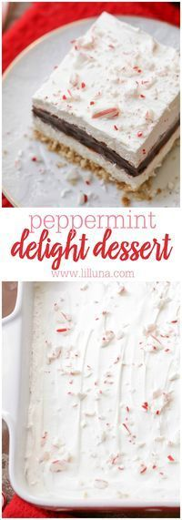 26 Christmas Peppermint Dessert Recipes - Captain Decor Peppermint Chocolate Delight - Nilla wafer crust, cream cheese layer, chocolate pudding layer, whipped cream and candy cane pieces. It's our new favorite Christmas dessert! Mini Desserts, Holiday Desserts, Holiday Baking, Christmas Baking, Just Desserts, Delicious Desserts, Kosher Desserts, Greek Desserts, Dessert Healthy
