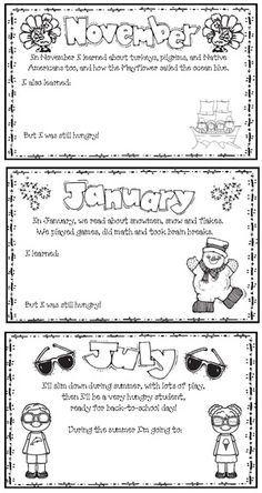 Back to school activities: Monthly Memory book. Includes blank monthly pages too.