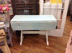 Long rustic light blue table