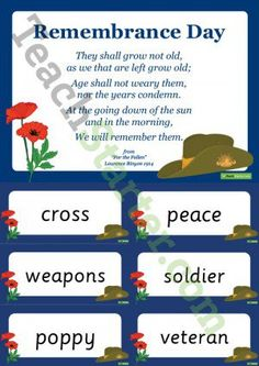 Remembrance Day Word Wall Vocabulary