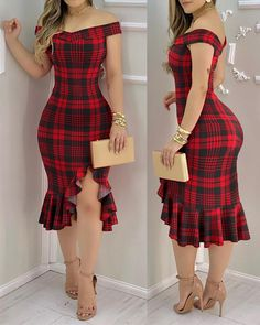 Chic Outfits, Dress Outfits, Fashion Dresses, Midi Dresses, Trendy Outfits, Slit Dress, Dress Red, Sexy Party Dress, African Print Fashion