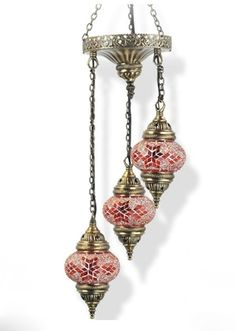 TRIPLE SPIRAL CHANDELIER     Three beaded mosaic globes light this small chandelier. Available in the following colours: Amber, blue, purple, green, brown, white and red as shown on the right.    Size: 25 cms wide, 68 cms high
