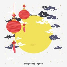 Mid-Autumn Festival decorative design Vector and PNG Chinese Picture, Chinese Art, Chinese Style, New Year Illustration, Pattern Illustration, Love 020, Drawing Cartoon Faces, New Year Designs, Mid Autumn Festival