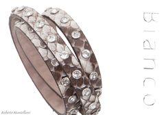 Rock python B890 bracelet with crystal Swarovski Elements by Roberto Mantellassi