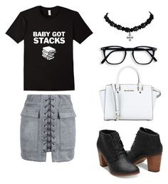 """Baby Got Stacks"" by bookworm528 ❤ liked on Polyvore featuring WithChic and MICHAEL Michael Kors"