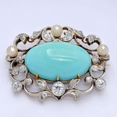Antique Turquoise and Diamond Brooch, circa 1900