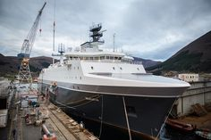 """On December 6th 2014, the Norwegian Prime Minister christined the new electronic signals intelligence (ELINT) """"Marjata"""". The vessel, which will replace an existing one bearing the same name in 2016, will be operated by the Norwegian Intelligence Service. The christening took place at the shipyard Vard Langsten in Tomrefjord Romsdal."""