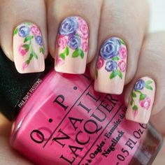Spring purple pink roses nail design