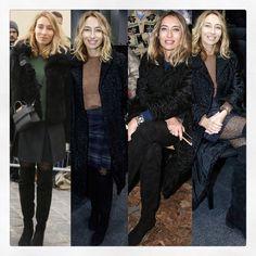 Looks PFW obsession jupe + bottes Saint Laurent + tricot Alexandra Golovanoff